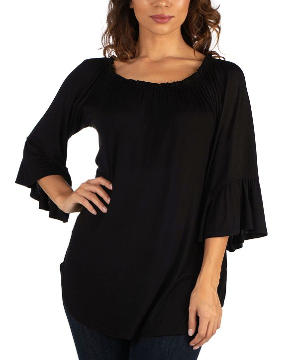 24seven Comfort Apparel Women's Bell Sleeve Loose Fit Tunic Top