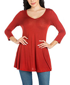 Women's Three Quarter Sleeve V-Neck Tunic Top