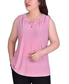 Women's Plus Size Sleeveless Grommeted Top