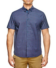 Men's Slim Fit Houndstooth Print Short Sleeve Shirt and a Free Face Mask