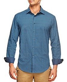 Men's Slim Fit Houndstooth Geo Print Long Sleeve Shirt and a Free Face Mask