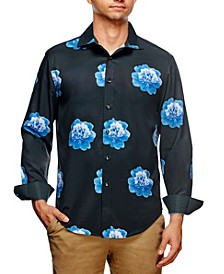 Men's Slim Fit Peony Print Long Sleeve Shirt and a Free Face Mask