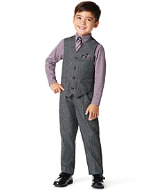 Little Boys Holiday Twist 4 Piece Vest Set