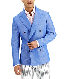 INC Men's Lucca Slim-Fit Double-Breasted Chambray Blazer, Created for Macy's