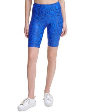 Calvin Klein Performance Metallic-print High-waist Bike Shorts In Blue