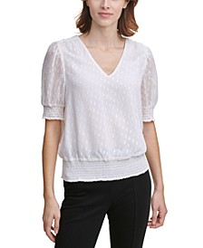 Clipped Smocked-Trim Top