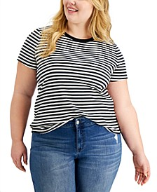 Plus Size Ribbed Striped T-Shirt, Created for Macy's