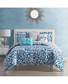 Malibu Beach Floral Comforter Set 6 Piece, Queen
