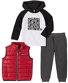 Little Boys Nylon Vest with Long Sleeve Hooded Tee and Fleece Pant, 3 Piece Set