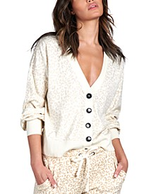 Barely Leopard V-Neck Cardigan