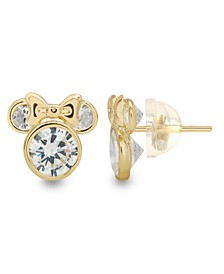 Children's Cubic Zirconia Minnie Mouse Stud Earrings in 14k Gold