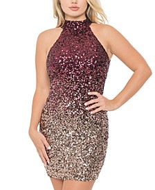 Juniors' Ombré Sequin Cutout-Back Dress