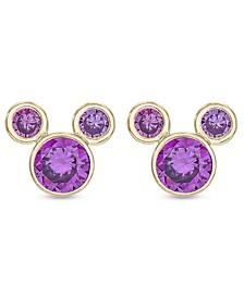 Children's Cubic Zirconia Birthstone Mickey Mouse Stud Earrings in 14k Gold