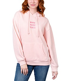 Juniors' More Good Vibes Embroidered Hoodie