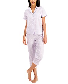 Notched Collar Top & Capris Pajama Set, Created for Macy's