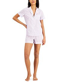 Notched Collar Cotton Pajama Shorts Set, Created for Macy's