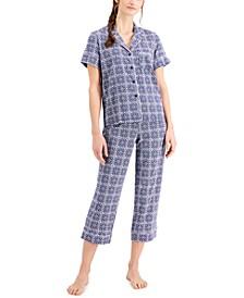 Notch Collar Capri Pants Pajama Set, Created for Macy's