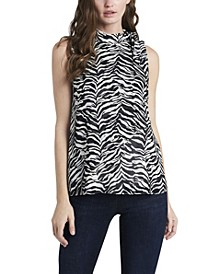 Women's Sleeveless Tie Neck Layered Blouse