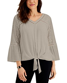 Lace-Accent Tie-Front Top, Created for Macy's