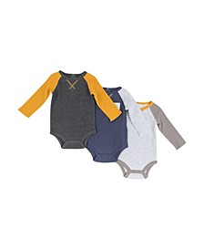 Boys 3-Pack Raglan Long Sleeve Bodysuits