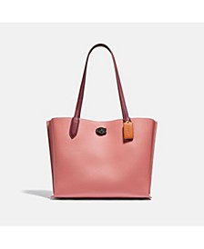 Colorblock Leather with Coated Canvas Signature Interior Willow Tote
