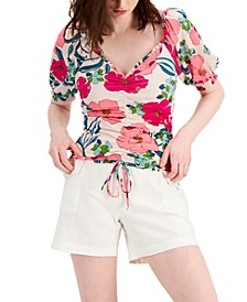 INC Petite V-Neck Ruched-Front Top, Created for Macy's