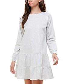 Juniors' French Terry Ruffled A-Line Dress