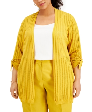Plus Size Roll-Tab Open-Front Cardigan