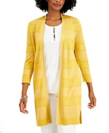 3/4-Sleeve Striped Open-Front Cardigan