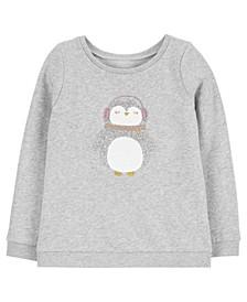 Carters Little Girl Sparkly Penguin Fleece Top