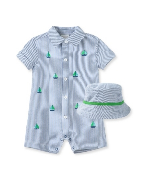 Little Me BABY BOYS SAILBOATS ROMPER WITH HAT