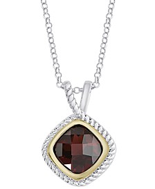 "Rhodolite Garnet Rope Frame 18"" Pendant Necklace (1-7/8 ct. t.w.) in Sterling Silver & 14k Gold-Plate"