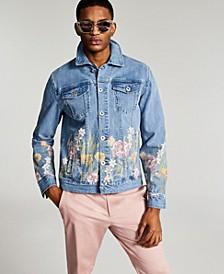 Men's Regular-Fit Floral-Print Denim Trucker Jacket, Created for Macy's