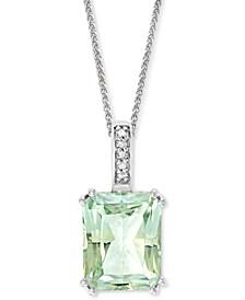 """Green Quartz (3-1/10 ct. t.w.) & Diamond Accent 18"""" Pendant Necklace in 14k White Gold"""