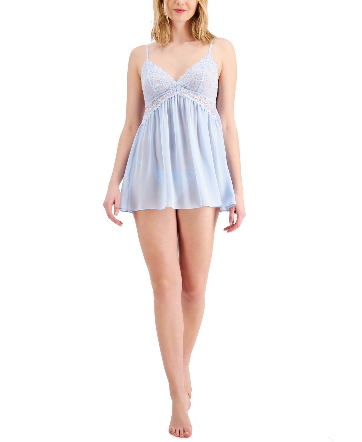 Inc International Concepts Chiffon Babydoll Nightgown & Thong 2pc Lingerie Set, Created for Macy's