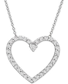 """Platinum By Wrapped in Love Diamond Heart 20"""" Pendant Necklace (1/2 ct. t.w.) in Platinum, Created for Macy's"""