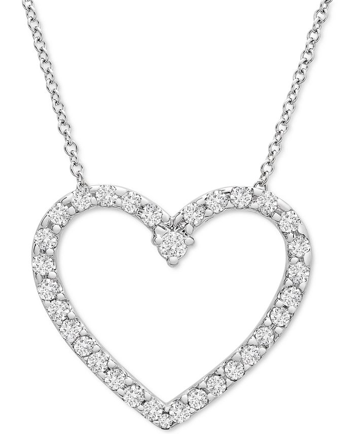 """Wrapped in Love - Diamond Heart 20"""" Pendant Necklace (1/2 ct. t.w.) in Platinum"""