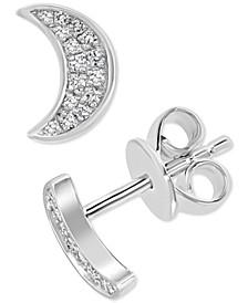 EFFY® Diamond Crescent Moon Stud Earrings (1/10 ct. t.w.) in Sterling Silver