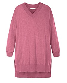 Women's V Neck Soft Tunic Sweater