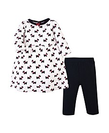 Girls Quilted Cotton Dress and Leggings Set