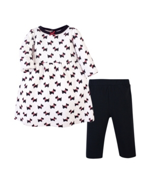 Hudson Baby Cottons GIRL QUILTED COTTON DRESS AND LEGGINGS SET