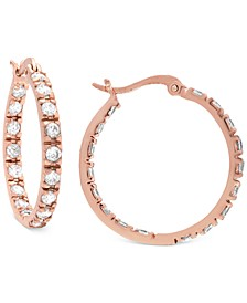 "Cubic Zirconia In & Out Small Hoop Earrings in 18k Rose Gold-Plated Sterling Silver, 0.79"", Created for Macy's"