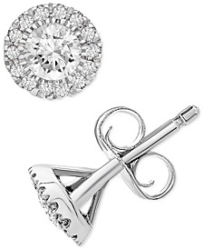 Diamond Halo Stud Earrings (1/2 ct. t.w.) in Platinum, Created for Macy's