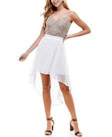 Juniors' Lace & Chiffon High-Low Dress