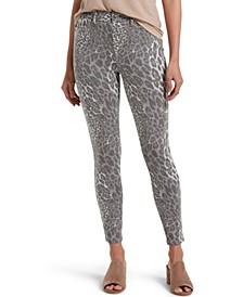 Women's Wavy Leopard Ultra Soft Denim High Waist 7/8 Leggings