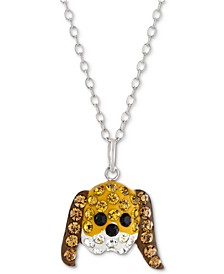 """Crystal Dog Face 18"""" Pendant Necklace in Sterling Silver, Created for Macy's"""