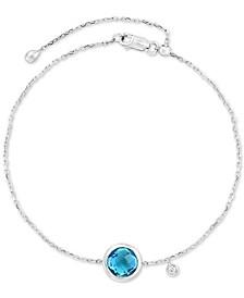 EFFY® Blue Topaz (2 ct. t.w.) & Diamond Accent Bracelet in 14k White Gold