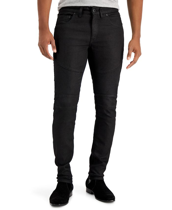 INC International Concepts - Men's Skinny Coated Moto Jeans, Created for Macy's
