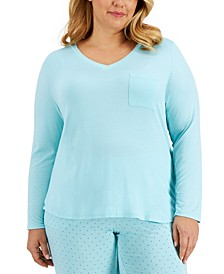 Plus Size Pocketed Pajama Top, Created for Macy's