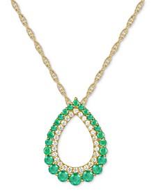 """Emerald (7/8 ct. t.w.) & Diamond (1/5 ct. t.w.) Open Teardrop 18"""" Pendant Necklace in 14k Gold"""